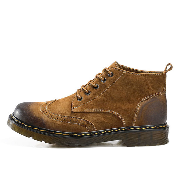 Lace Up Casual New Short Boot Brown Gray Green for men.