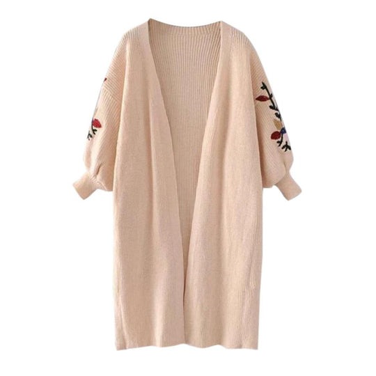 Long Sleeve Loose Pocket Long Knitted Sweater Cardigan Coat
