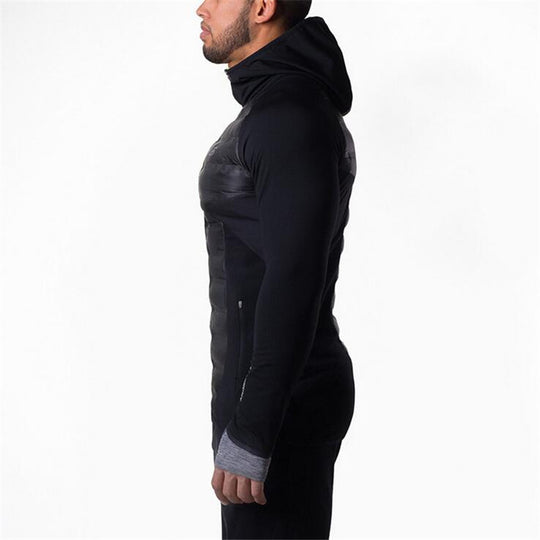 Hooded Thick warmth Fitness  Patchwork  bodybuilding Jacket