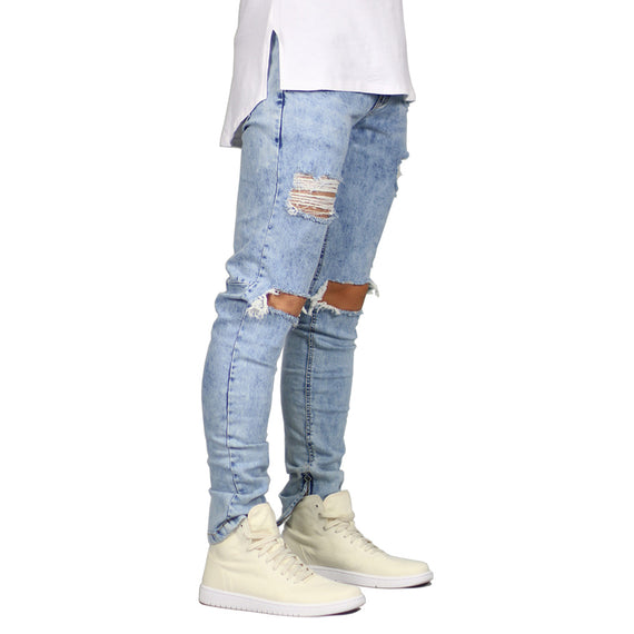 Men's Stretch Destroyed Ripped Design Jeans