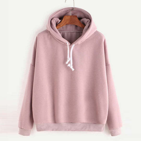 women's Solid colour Long Sleeve Casual Hooded Pullover