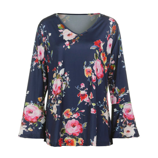 Floral Print Long Flare Sleeve V Neck Tee T-Shirt