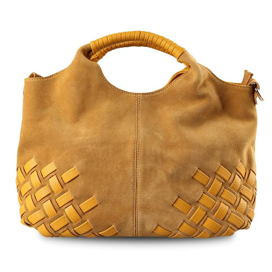 Comfortable Weave Suede Split Leather Handbag