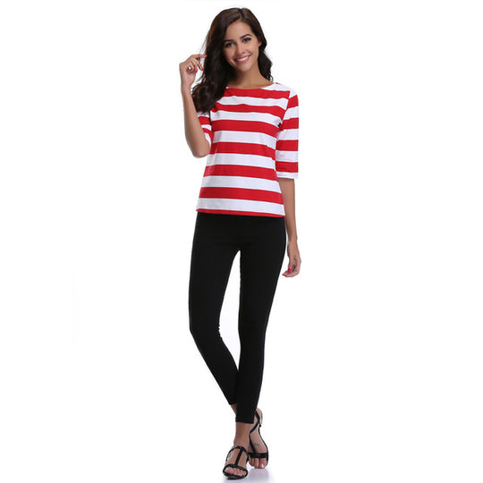 Sexy Striped Printed Loose Half Long Sleeve O-Neck T shirt