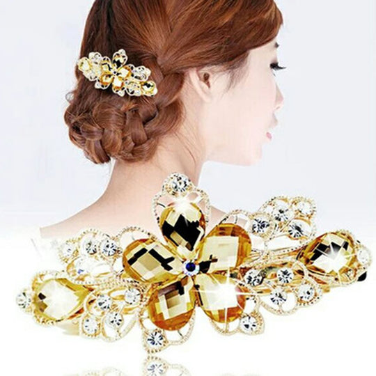 Shiny Women Elegant Rhinestone Flower Hairpins