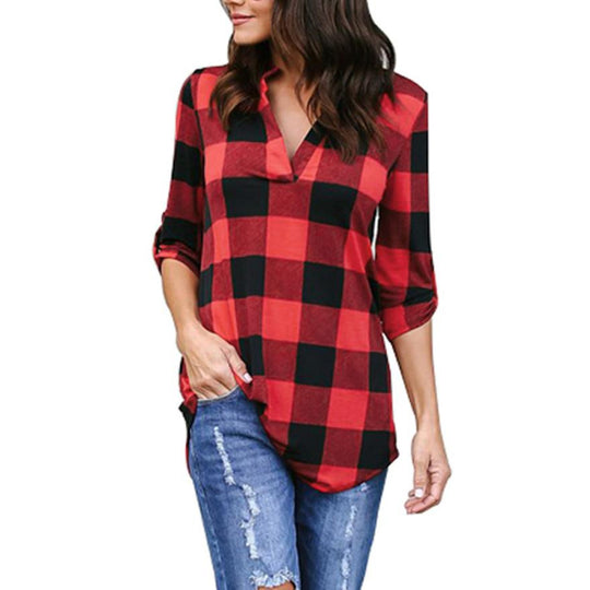 Casual Plaid  V Neck Lattice Shirts