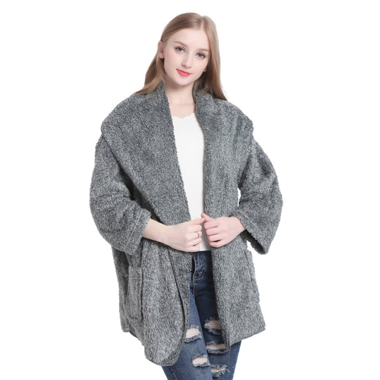Winter Warm Plush Fleece Poncho Long Sleeve Cardigans