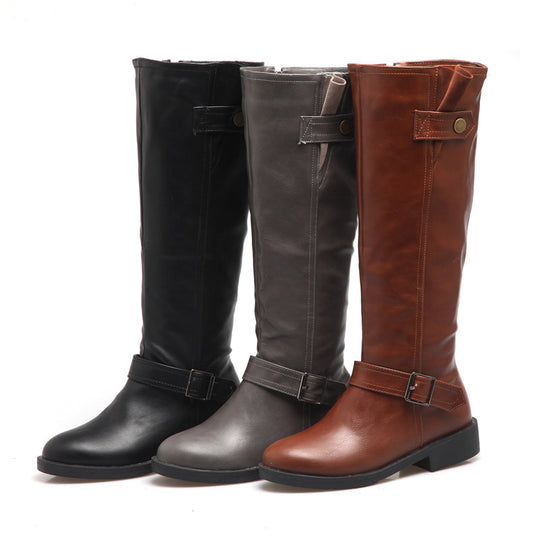 Chunky Knee High Low Heel Riding Boots
