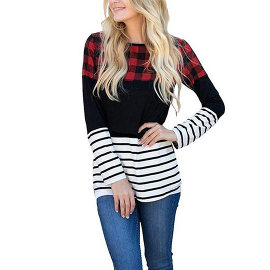 Women's Casual Striped Plaid Patchwork top