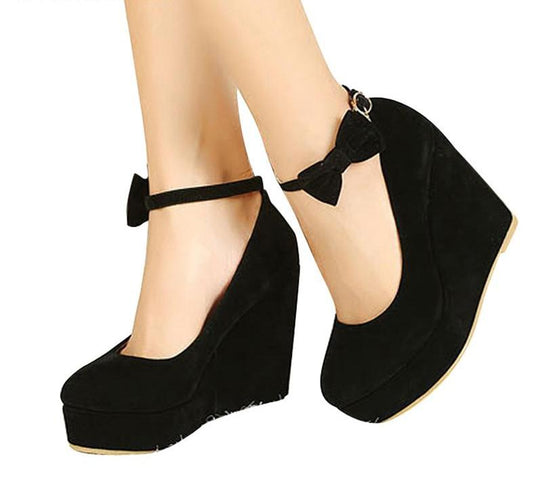 Buckle Ankle Strap Bowtie Shoes Plus Size