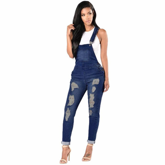 Ripped Hole Cotton Denim Overalls Casual Jeans