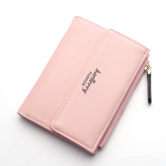 Women's Thin Zipper Leather Mini Card Case Purse