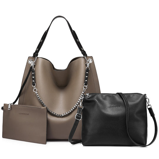 3 set soft artificial leather handbag