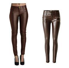 Double Zipper PU women's Leather Pants