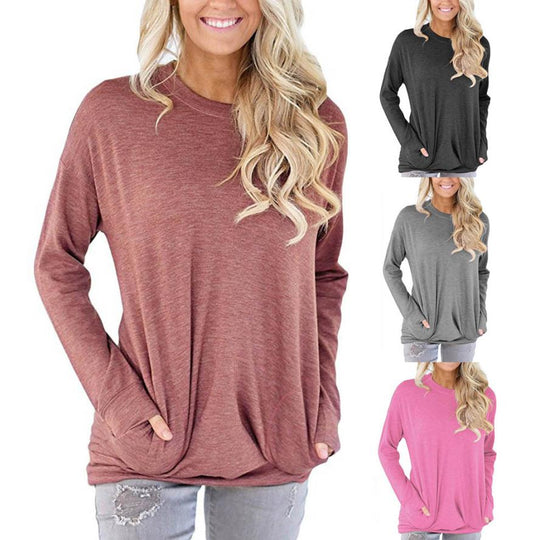 Women's Casual Long Sleeve Cotton Solid Loose Pockets Blouse