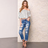 Distressed Mid Waist Sexy Ripped Ankle Length Jeans