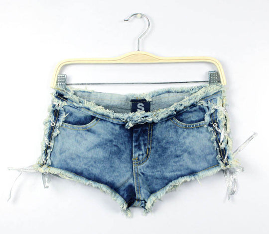 Sexy Low Waist Side Straps  Denim Jeans Shorts