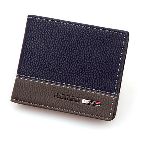 Men's Patchwork Leather Zipper Billfold Business Wallet