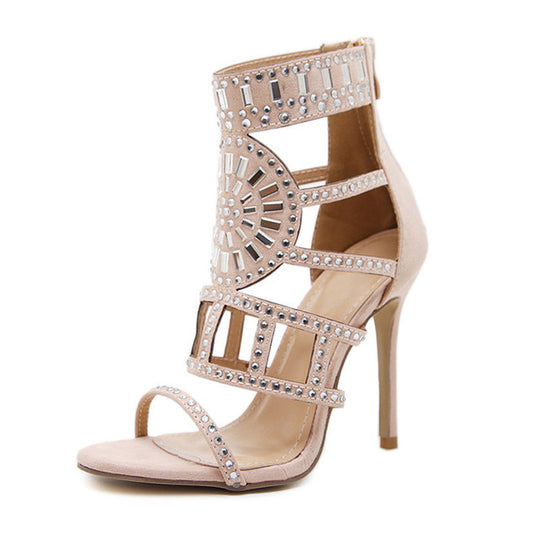 Hollow Gladiator Thin Heel Rhinestone Crystal Party Shoes