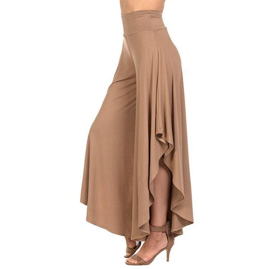 Elegant Irregular Ruffles Wide Leg  Women High Waist Pants