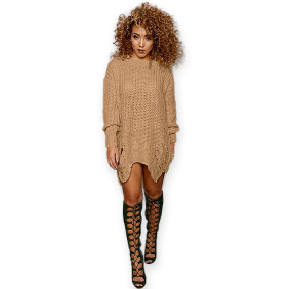 O-neck Long Sleeve Knitted Pullovers Dress