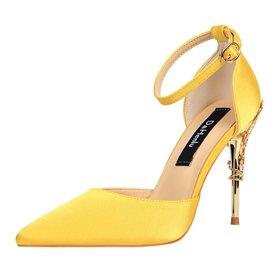 Women's D'Orsay & Two-Piece High Heels Silk Yellow Stilettos