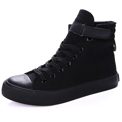 All black high top canvas shoes for men