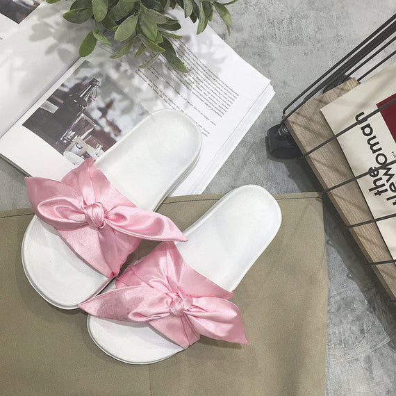 Silk Bow Thicken Open Toe Seaside Beach Beautiful Flip Flops