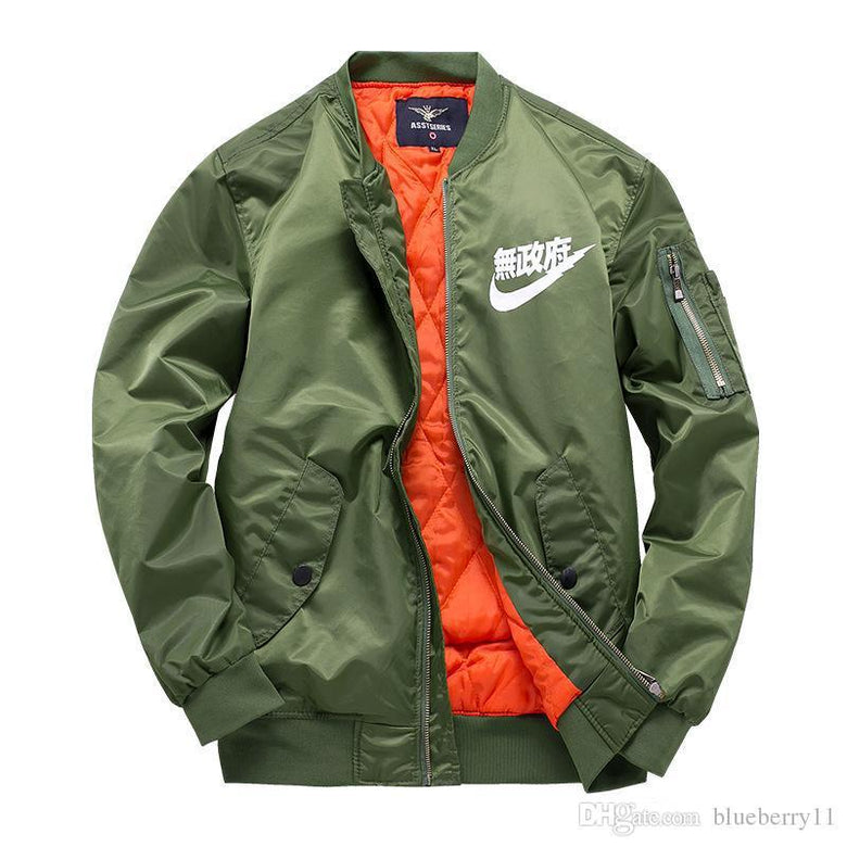pilot jackets kanji black green flight