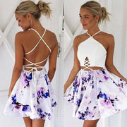 Strappy Backless Floral Print Dress