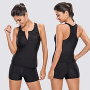 Swimdress V Neck Tankini Top With Bottom