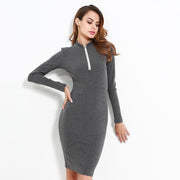 stand zippers knitted mini cotton dress