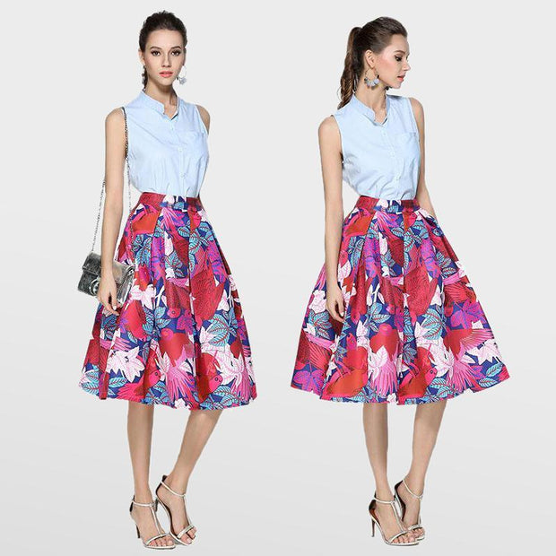 Vintage Floral Printed Pleated Flared Full Skirts