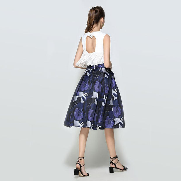 Vintage A-line Printed Pleated Flared Full Skirts