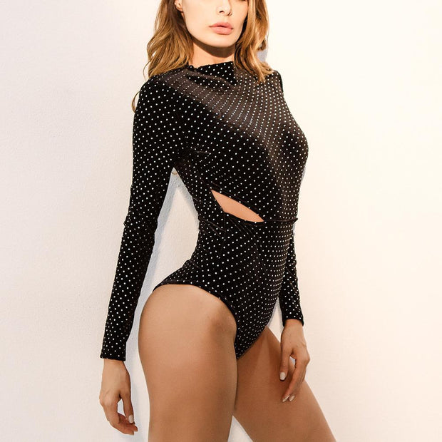 Polka Dots Waist Cut Out Bodysuit