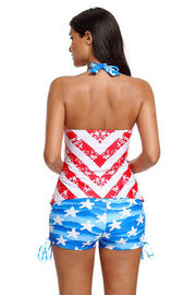 Plus Size American Flag Print Halter Neck Swimsuit