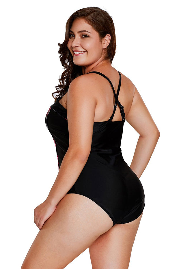 Plus Size Rose Print One Piece Swimsuit
