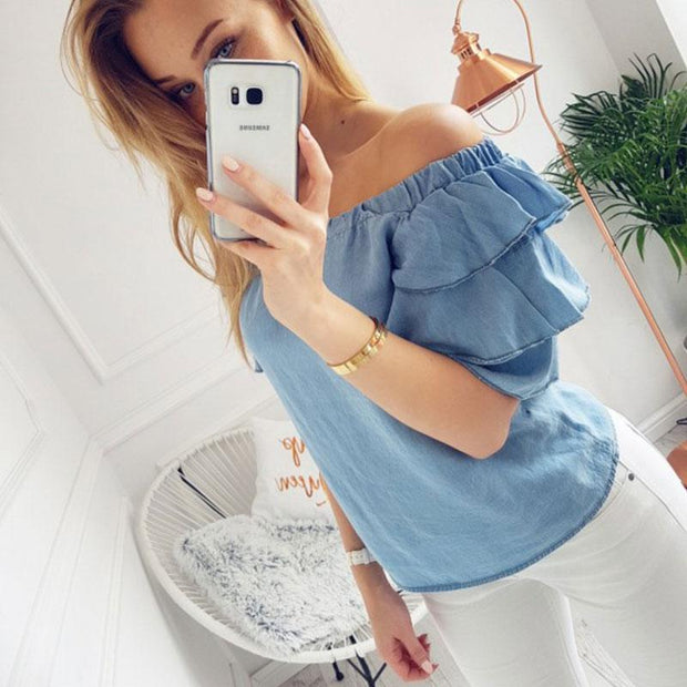 Strapless Shirts Puff Sleeve Blouses Tops