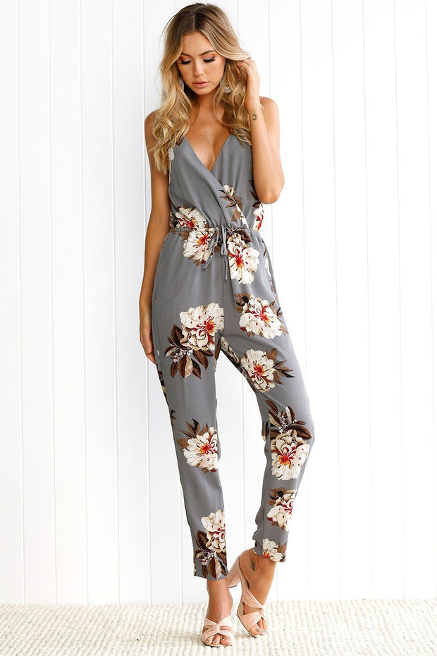 V Neck Floral Print Strap Party Playsuit
