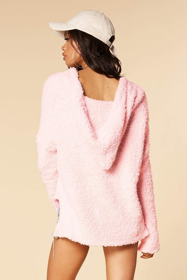 Pink Hooded Short Pullover Loose warm top
