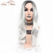 Suri Hair White Ombre Synthetic Wig Dark Roots Women Long Wavy Heat Resistant Hair Wig For African American 30 inch