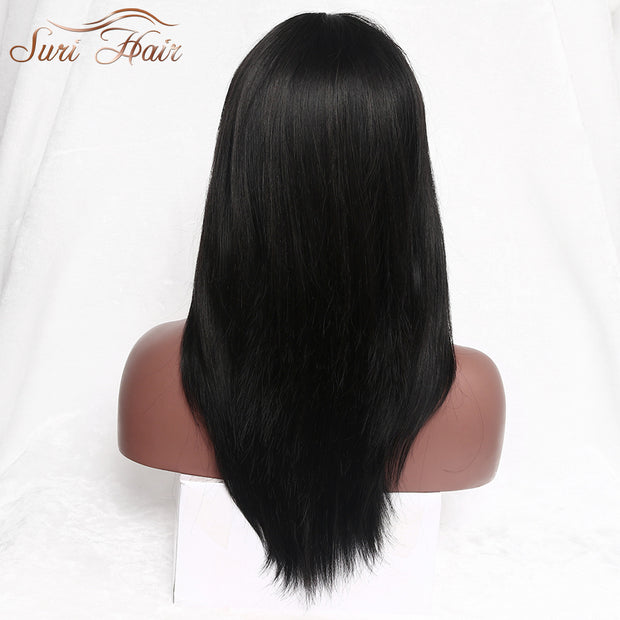 Suri Hair Black Straight Synthetic Wig With Bangs Long African American Fake Hair Wig For Women 22 inch