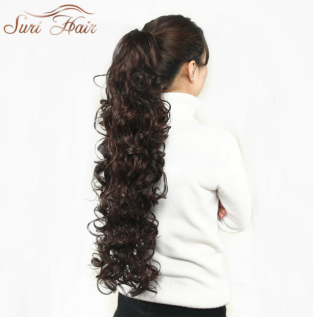 Suri Hair 32 inch Women Claw On Ponytail Extensions 220g Fake Long Wavy Pony Tail Hair Piece Brown/Blonde 3 Colors Avaliable