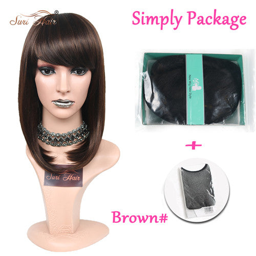 Suri Hair Long Brown Straight Female Wig With Bangs Heat Resistant Fiber Synthetic Wig For African Americans 12 inch