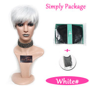 Suri Hair Cosplay Party Wigs White Short Heat Resistant African American Straight Synthetic Wig 6 inch
