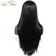 Suri Hair 30 inch Black Long Middle Part Straight Synthetic Wig For African American Heat Resistant Wig For Women