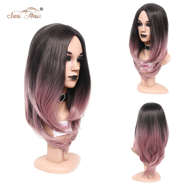 Suri Hair Wavy Wig For Women Long Ombre Pink Cosplay Heat Resistant Synthetic Wig For African American 24 inch