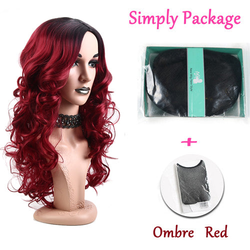 "Suri Hair 26"" Ombre black and red Color Long Body Wavy Synthetic Hair Wigs for Women High Density Temperature cosplay wig"