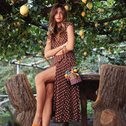Polka Dot Bohemian V Neck Split Asymmetric Long Elegant Beach Dresses