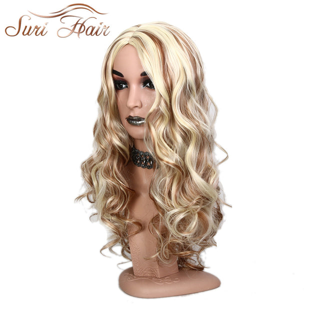 Suri Hair Brown Blonde 26inch Long Body Wave Heat Resistant Synthetic mixed Hair Wigs For Black/White Women cosplay Fake wig